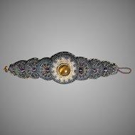 Antique Victorian Beaded Cuff Bracelet Tiger's Eye