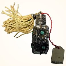 1.75 Inch French Miniature Jewelled Perfume Bottle with Dauber Original Tag and Tassel