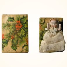 3 Inch  Jointed German All Bisque Baby in Old Schraft's Christmas Box