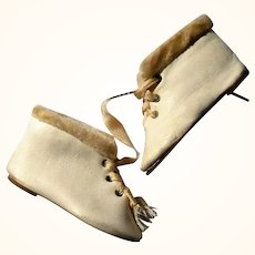 2.75 Inch Size 6 Ivory Kid 3 Hole Tie Boots with Velour Cuffs in Perfume Box