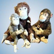 3 Vintage Plush Monkeys Herman Teddy Steiff US Zone Other