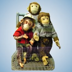 3 Old Swivel Neck Dressed Monkeys One Is Yes NO