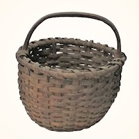 """19th Century New Jersey  12"""" Out of Round Splint Basket Handle Kick Up Patina"""