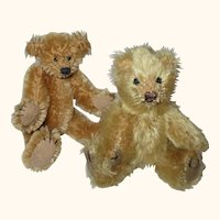 2 Little Vintage Jointed Gold Mohair Artist Bears