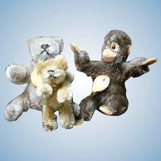 4 Inch Steiff 1950's Jocko Chest Tag Button  + 3.5 Inch Teddybar Chest Tag + 3 Inch 1930's Schuco Bear