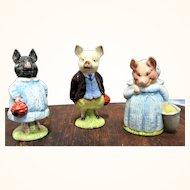 3 Beatrix Potter Pig Figurines F. Warne & CO LTD Beswick 1972-1974