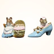 Beswick Beatrix Potter Mouse Figurines Old Woman in Shoe and Hunca Munca 1973/74