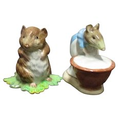 2 Gold Back Stamp Beswick Beatrix Potter Figures Anna Maria and Timmie Willie