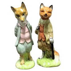 2 Beswick Beatrix Potter Figures Foxy Whiskered Gentleman and Mr Tod