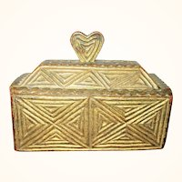 5.5 Inch 18th Century Chip Carved Slide Top Box Heart Handle