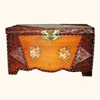 19th Century Chip Carved Miniature Blanket Chest Love Token Trinket Box