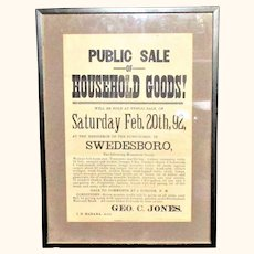 26 Inch X 19 Inch Framed 1892 New Jersey Household  Auction  Broadside