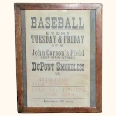 24.5 Inch x 19 Inch Framed Salem County NJ Poster for Weekly Dupont Smokeless Base Ball Team Games