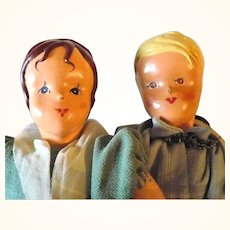 PR 10 Inch German 1940's Molded and Oil Painted Cloth Girl and Boy