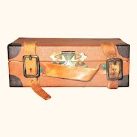 """4"""" Saddle Color Suit Case Shaped Candy Container Leather Straps"""