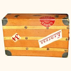 Flat Top Travel Trunk Candy Container Leather Handles Travel Stickers