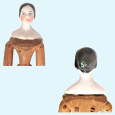 Scarce 5.5 Inch 1840 China Lady w Bun Molded  Bosom Wood Mortise and Tenon Body China Lower Limbs Arm Joint Damage