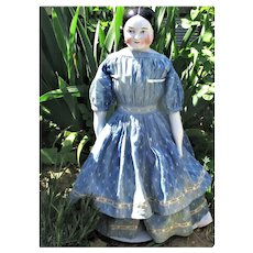 """23"""" A W Kister 1850's Pink Tint Covered Wagon China Great Face & Indigo Linen Dress"""