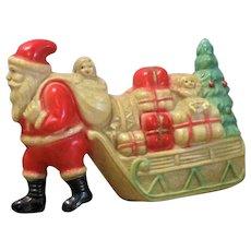 Viscoloid Company Santa w Sack Pulling Sled of Gifts Dolls & Tree