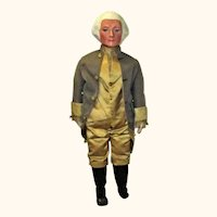25 Inch Martha Chase Oil Painted Cloth George Washington Character Doll Original Costume Fresh Face Paint