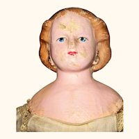 1868 Patent George Hawkins 22 Inch Painted Blond Muslin Head Doll Original Linen Body