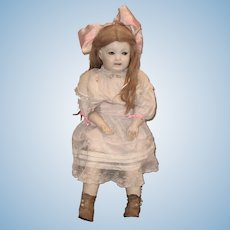 Scarce 28 Inch Gertrude Rollinson Wigged Doll Pale Complexion Molded Teeth & Tongue Back Stamp Ribbon Winner