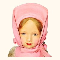 14 Inch 1920's Painted Felt Face Chad Valley Girl Fresh Colors 2 Tags