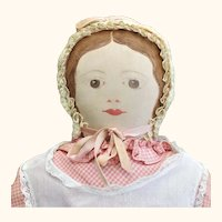 """Fine 17.25"""" Circa 1930-40 Painted Cloth Moravian Polly Heckewelder Brown Eyes Pink Dress"""