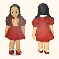 """21"""" Milwaukee WPA Oil Painted Face Brunette Doll w Stamp Complete School Girl Costume"""