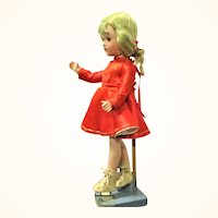 14 Inch Composition Girl Doll Skater Costume Blond Wig Sleep Eyes Shadow Lashes