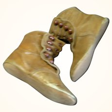 Edwardian 4.75 Inch Saddle Kid 5 Button Hi Tops + Grommets for Ties