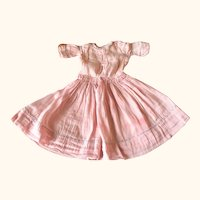 Old 13 Inch Pink Silk Doll Dress Blue French Knot Trim