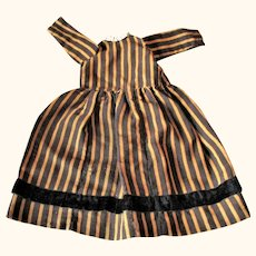 Old 13.5 Inch Hand Stitched Brown and Gold Stripe Dress for Antique Shoulder Head Doll