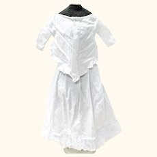15 Inch 19th Century Blue Dotted White Linen 2 Piece Dress