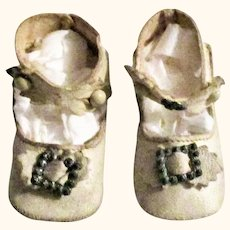 2 & 3/8 Inch Size 3 White Kid Key Stone Doll Shoes Ankle Straps Fancy Closures Toe Ornaments