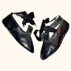 19th Century 4.25 Inch Black Patent Shoes Ankle Straps Ribbon Ties for Larger China or Papier-Mache