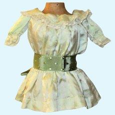 Vintage Hand Stitched 11 Inch Celery Silk Drop Waist Doll Dress