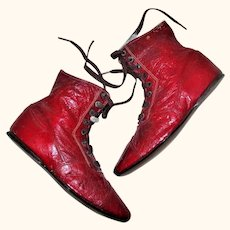 19th Century Narrow 6 Inch Red Kid Flat Sole 8 Hole Tie Boots for Early China Cloth or Papier-Mache Doll
