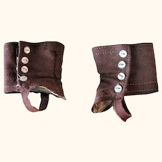 Old Pair of Brown Doll Spats