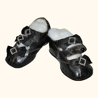 4.25 Inch Double Ankle Strap Black Glazed Kid Victorian Button Shoes