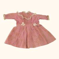 14 Inch Edwardian Rose Linen Dress for French Bebe