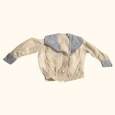 19th Century ivory Linen Button On Sailor  Blouse  Blue Collar