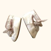 2 & 1/8 Inch Size 6 Ivory Tie French C.M. Shoes with Ivory Mesh Socks