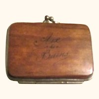 2.75 Inch 19th Century French Polished Wood Accordion Coin Purse w Painted Bird