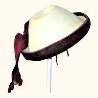 1860-70 Pressed Ivory  Felt and Wine Velvet Hat for French Bebe