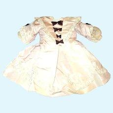 Vintage 16 Inch Palest Amethyst Taffeta Lace Trimmed Bebe Dress & Straw Hat