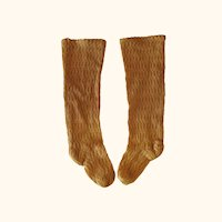7.5 Inch Amber Tone Open Weave Knit Full Fashion Fashion Doll Stockings