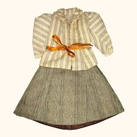2 Piece 19th Century Brushed Linen Lady Fashion Costume