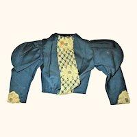 19th Century  Linen Teal Linen Fashion Jacket Leg of Mutton Sleeves