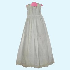 37 Inch Victorian Christening Gown Izannah Neck Cap Sleeves Tucks Broderie Anglaise